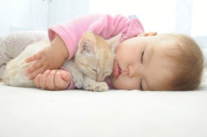A baby and a cat sleeping together